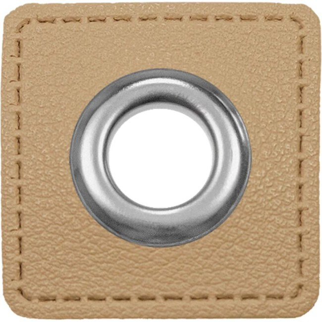 10mm Ösen Patches Lederimitat | Quadrat | Beige | Veno vordereite