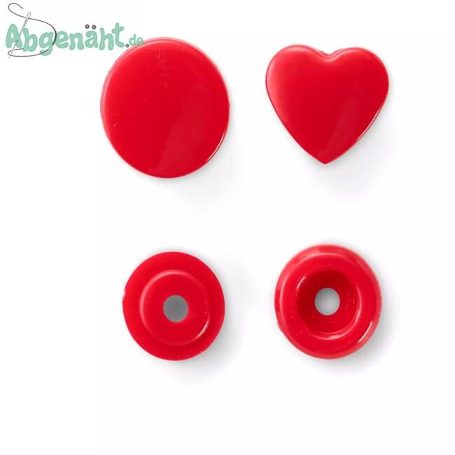 Druckknöpfe Color Snaps mit Herzform in Rot Einzeln