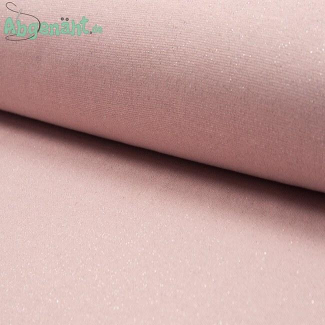 Glitzer Bündchen | Bündchenstoff | Rosa Silber | Öko Tex Standard 100 ballen