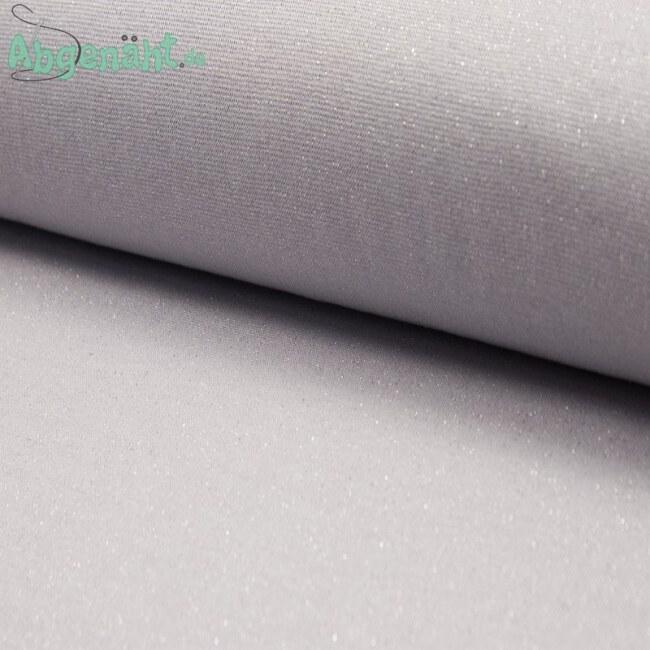 Glitzer Bündchen   Bündchenstoff   Hellgrau Silber   Öko Tex Standard 100 ballen