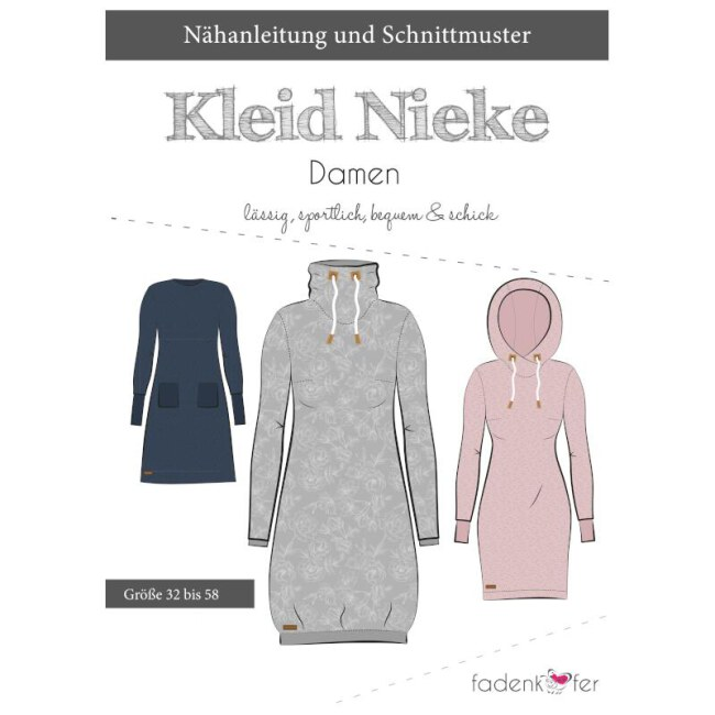 Papierschnittmuster Kleid | Nieke | Damen von Fadenkäfer deckblatt