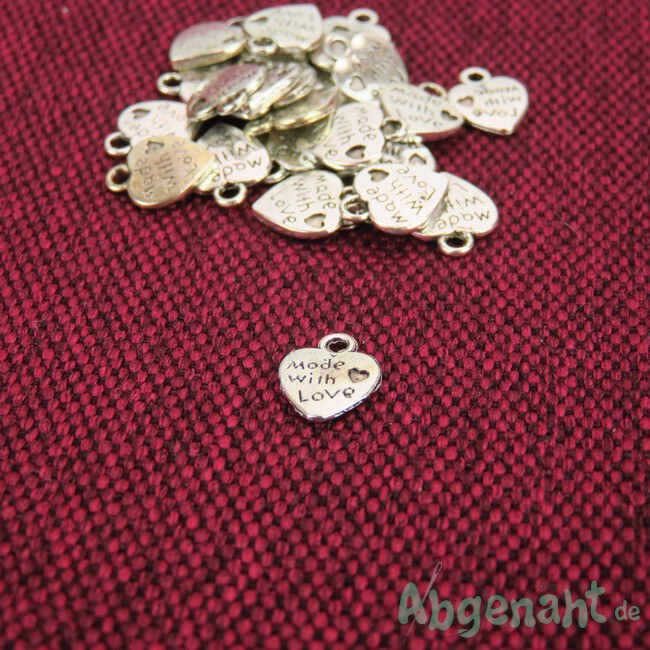Charms Anhänger | Herz - Made With Love | Metall | Silber